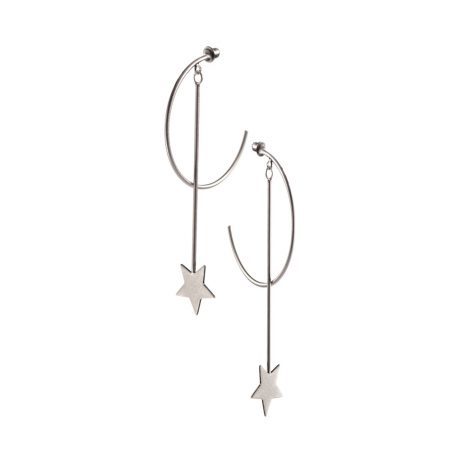 Hot Tomato Jewellery Moon and Star Worn Silver Earrings