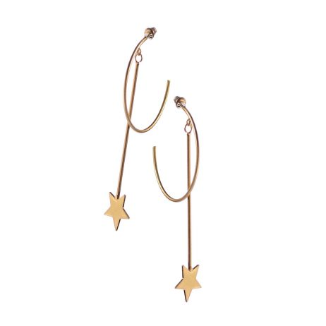 Hot Tomato Jewellery Moon and Star Worn Gold Earrings
