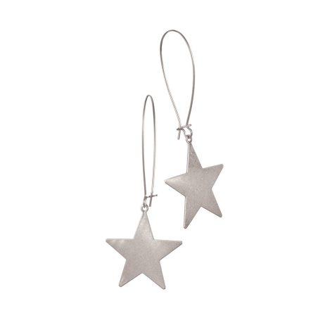 Hot Tomato Jewellery Large Star Worn Silver Earrings