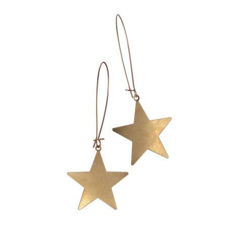 Hot Tomato Jewellery Large Star Worn Gold Earrings