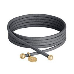 Sence Copenhagen 2 in 1 Grey Leather Necklace and Bracelet with Gold