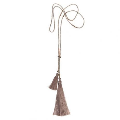 Hot Tomato Jewellery Long Grey Tassel Necklace