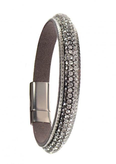 Hot Tomato Jewellery Faux Leather Bracelet with Silver Crystal