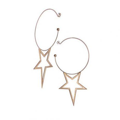 Hot Tomato Jewellery A Star is Born Worn Gold Hoop Earrings