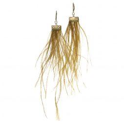 Hot Tomato Jewellery Ochre Feather Earrings