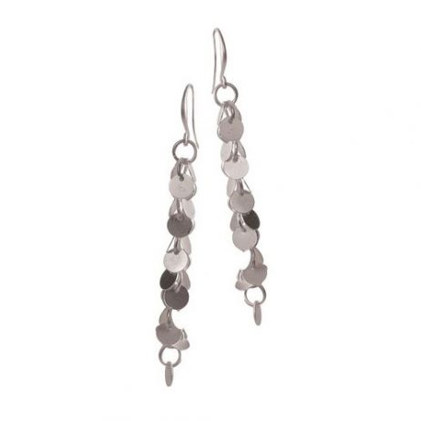 Hot Tomato Jewellery Matt Silver Tumbling Disc Earrings