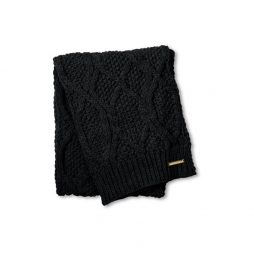 Katie Loxton Black Cable Knit Bobble Scarf KLS053