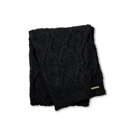 Katie Loxton Black Cable Knit Bobble Scarf KLS053