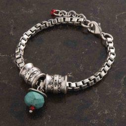 Danon Jewellery Poseidon Silver Bracelet Turquoise Bead B3886S