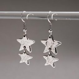 Danon Jewellery Double Little Star Silver Drop Earrings