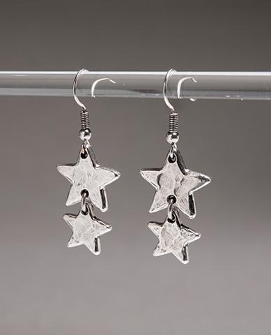 Danon Jewellery Double Little Star Silver Drop Earrings *