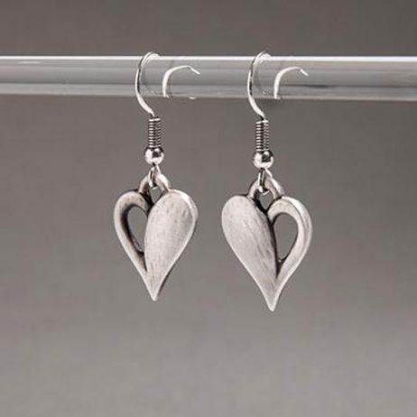 Danon Jewellery Simply You Heart Drop Earrings Silver