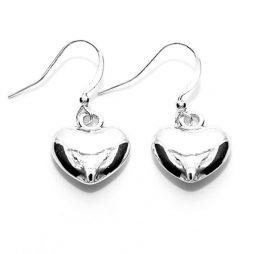 Life Charm Silver Plated Puffed Heart Drop Earrings