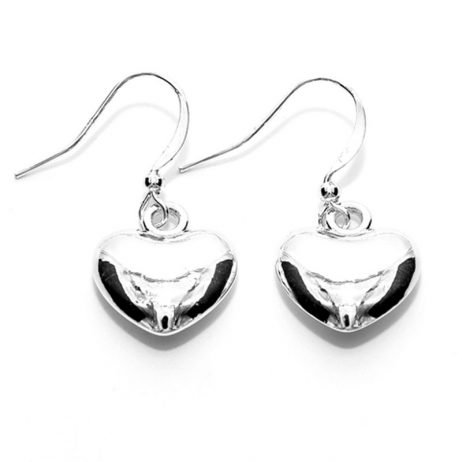 Life Charm Silver Plated Puffed Heart Drop Earrings