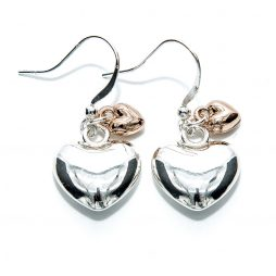 Life Charm Silver and Rose Gold Plated Puffed Heart Hook Earrings