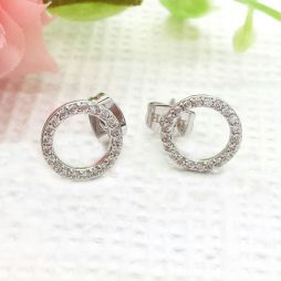 Life Charm Crystal Circle Stud Earrings
