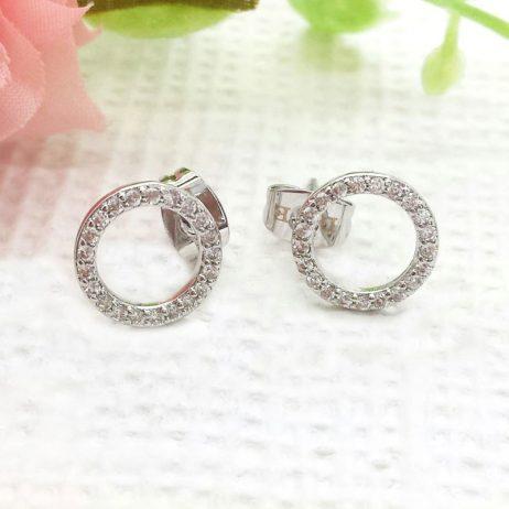 Life Charm Crystal Circle Stud Earrings