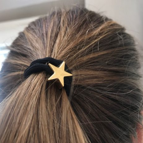 Lupe Star Charm Hair Tie Bracelet - Black Gold