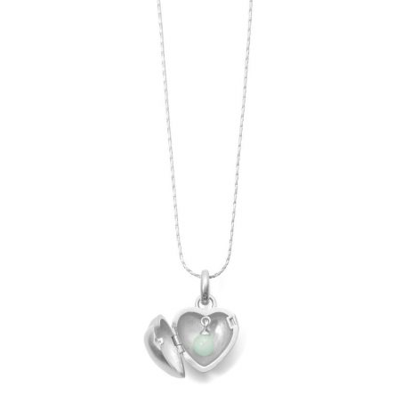 Sence Copenhagen Jasmine Heart Locket Necklace Matt Silver with Aquamarine
