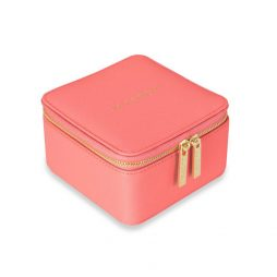 Katie Loxton Square Jewellery Box Live Love Sparkle Coral KLB566