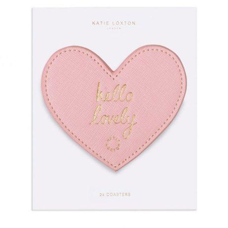 Katie Loxton Pink Heart Coasters Hello Lovely KLHA035