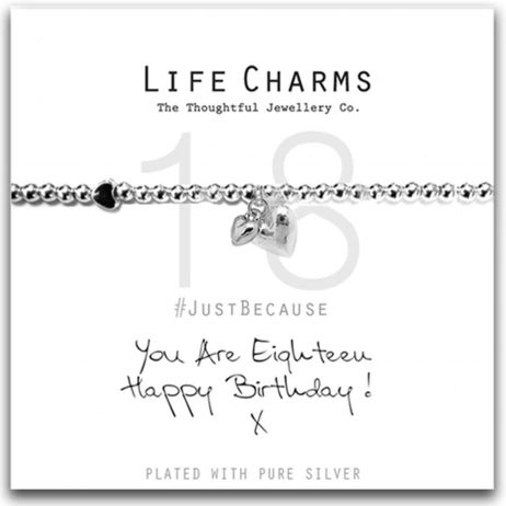 Life Charms Happy 18th Birthday Silver Hearts Bracelet