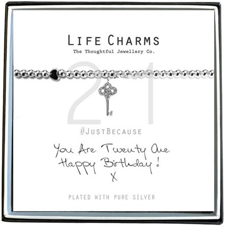 Life Charms Happy 21st Birthday Silver Key Bracelet