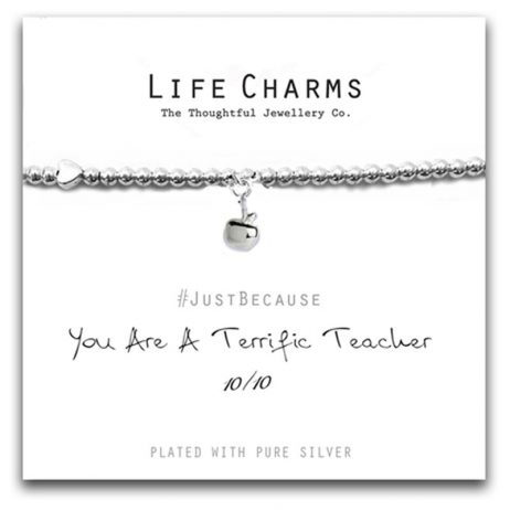 Life Charms Terrific Teacher Silver Bracelet