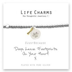 Life Charm Dogs Leave Footprints On Your Heart Silver Bracelet
