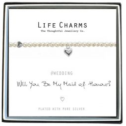 Life Charms Will You Be My Maid Of Honour Pearl and Heart Bracelet