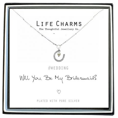 Life Charms Will You Be My Bridesmaid Silver Plated Horseshoe Necklace