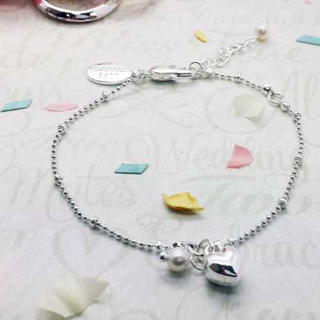 Life Charms Will You Be My Bridesmaid Silver Plated Heart Bracelet