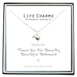 Life Charms Thank You For Being My Beautiful Bridesmaid Silver Necklace - Heart and Pearl *
