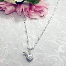 Life Charms Thank You For Being My Beautiful Bridesmaid Silver Necklace - Heart and Pearl LCW07SHN