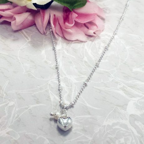 Life Charms Thank You For Being My Beautiful Bridesmaid Silver Necklace - Heart and Pearl