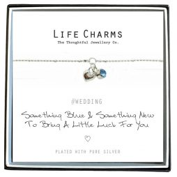 Life Charms Something Blue Bride Silver Bracelet - Heart and Blue Crystal