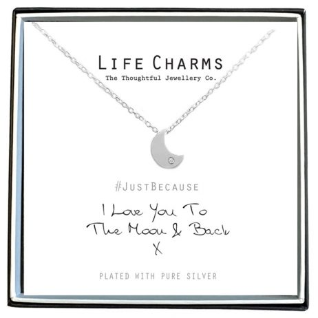 Life Charms I Love You To The Moon And Back Silver Necklace