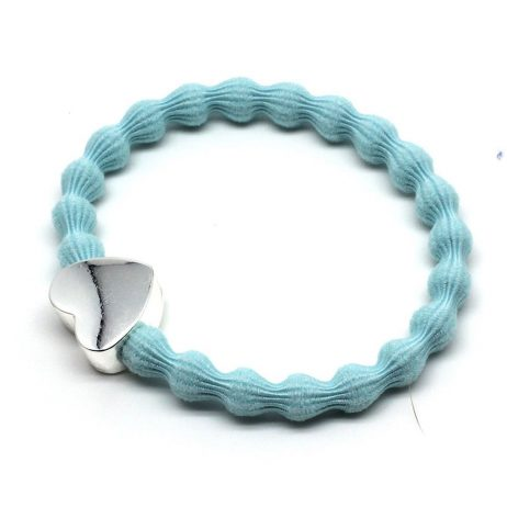 Lupe Heart Charm Hair Tie Bracelet - Light Blue Silver