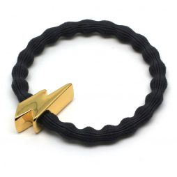 Lupe Lightning Bolt Charm Hair Tie Bracelet - Black Gold