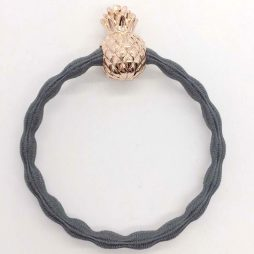 Lupe Pineapple Charm Hair Tie Bracelet - Grey Gold