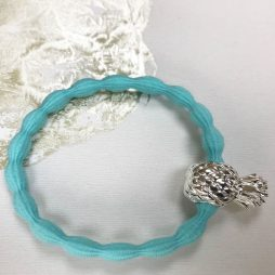Lupe Pineapple Charm Hair Tie Bracelet - Light Blue Silver