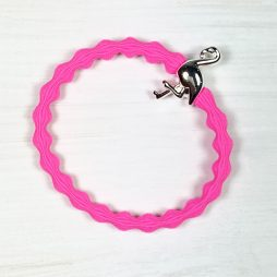 Lupe Flamingo Charm Stackable Hair Tie Bracelet - Hot Pink Silver