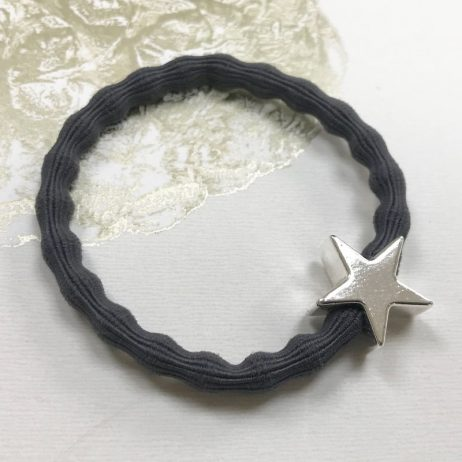 Lupe Star Charm Hair Tie Bracelet - Grey Silver
