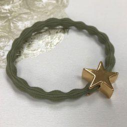 Lupe Star Charm Hair Tie Bracelet - Kharki Gold