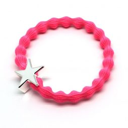 Lupe Star Charm Hair Tie Bracelet - Hot Pink Silver