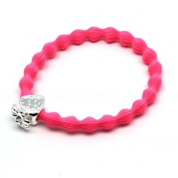 Lupe Strawberry Charm Hair Tie Bracelet - Hot Pink Silver