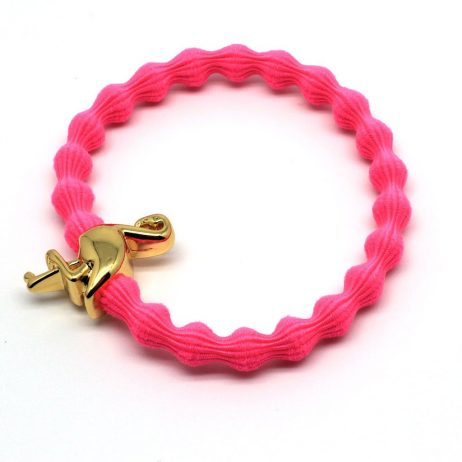Lupe Flamingo Charm Hair Tie Bracelet - Hot Pink Gold