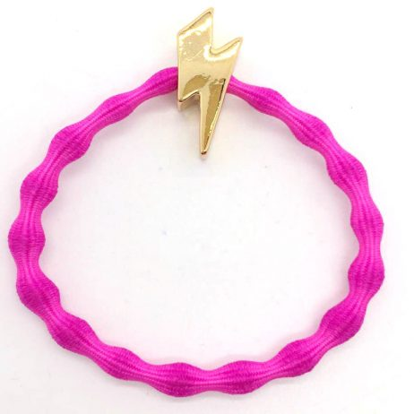 Lupe Lightning Bolt Charm Hair Tie Bracelet - Hot Pink Gold
