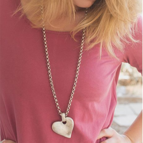 Danon Jewellery Angled Heart Long Necklace Silver N4607S