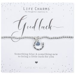Life Charms Something Blue and Something New Bride Silver Bracelet - Lucky Horseshoe and Blue Crystal